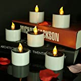 Micandle Set of 6 Yellow Solar Candles,LED Solar Flameless Tealights Candles for Home Yard Decor,Yellow Flickering Electric Outdoor Solar Camping Lights Lamp (Charged 4 - 8 Hours Can Use 5 -10 Hours)