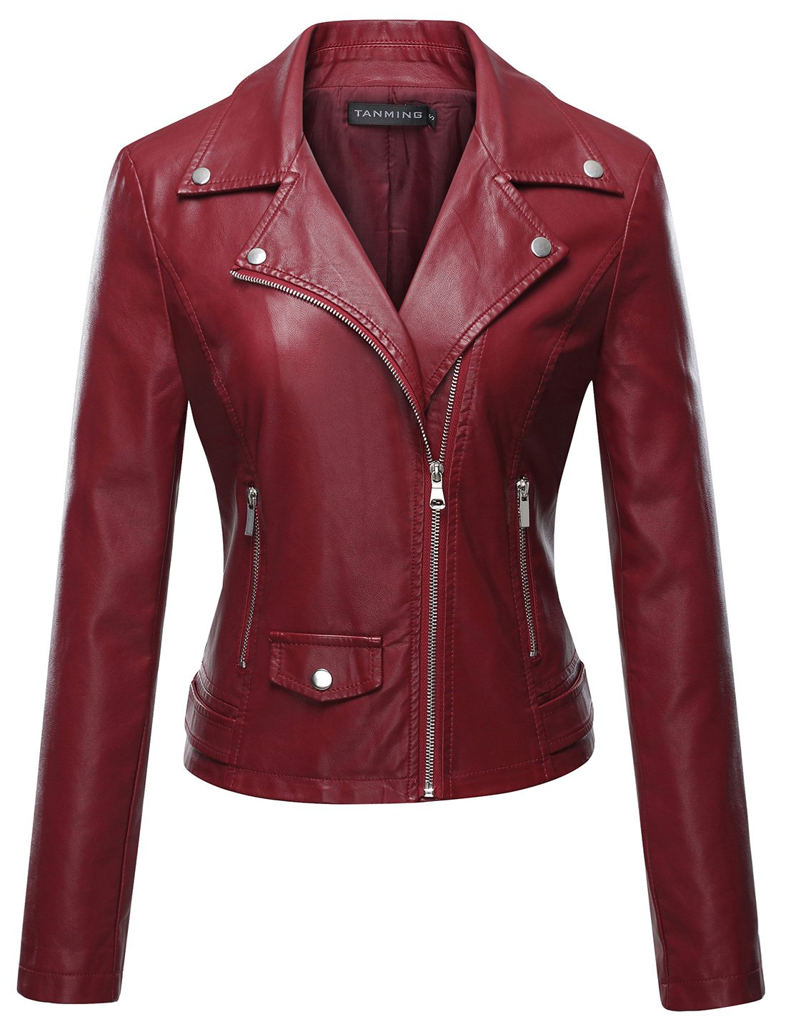 Tanming Women's Faux Leather Moto Biker Short Coat Jacket (Medium, Wine Red)