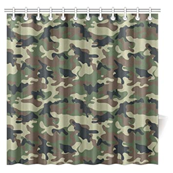 InterestPrint Camo Shower Curtain Green Military Camouflage Army Forces The Great Adventure Authentic Art American