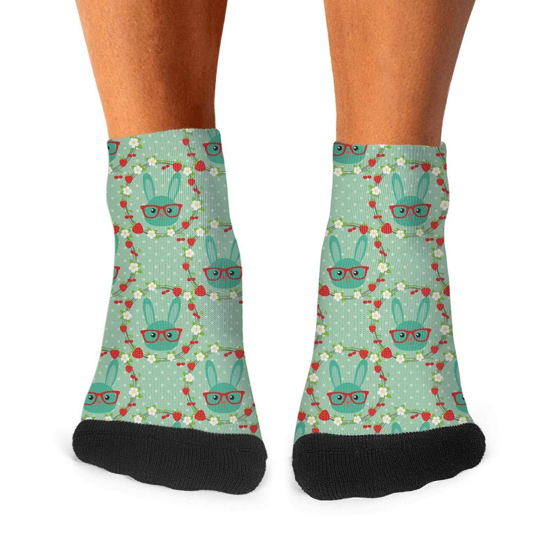 Tasbon Mens All-season Sports Socks Smart Bunny In Wreath Flowers And Berries Green Athletic Socks