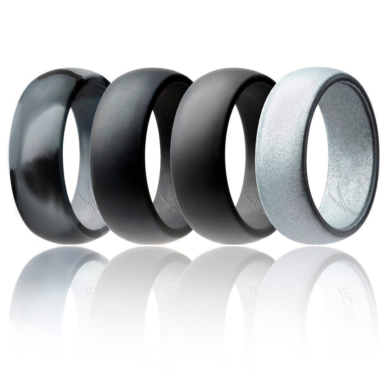 ROQ Silicone Wedding Ring for Men Affordable Silicone Rubber Band, 4 Pack - Black Camo, Metallic Look Silver, Black, Grey - Size 9