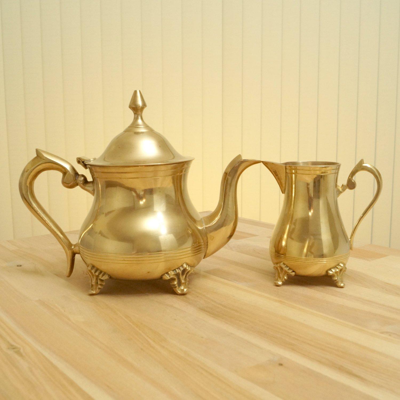 Amazon.com: Coffee / Tea Serving Set    vintage E.P.N.S. brass ...