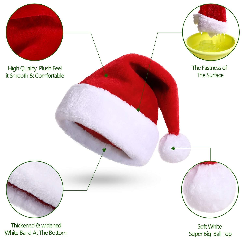 KONVINIT Cappello Babbo Natale Peluche per Bambino Cappellini Natale Rosso Cappellino Babbo Natale Taglia Unica