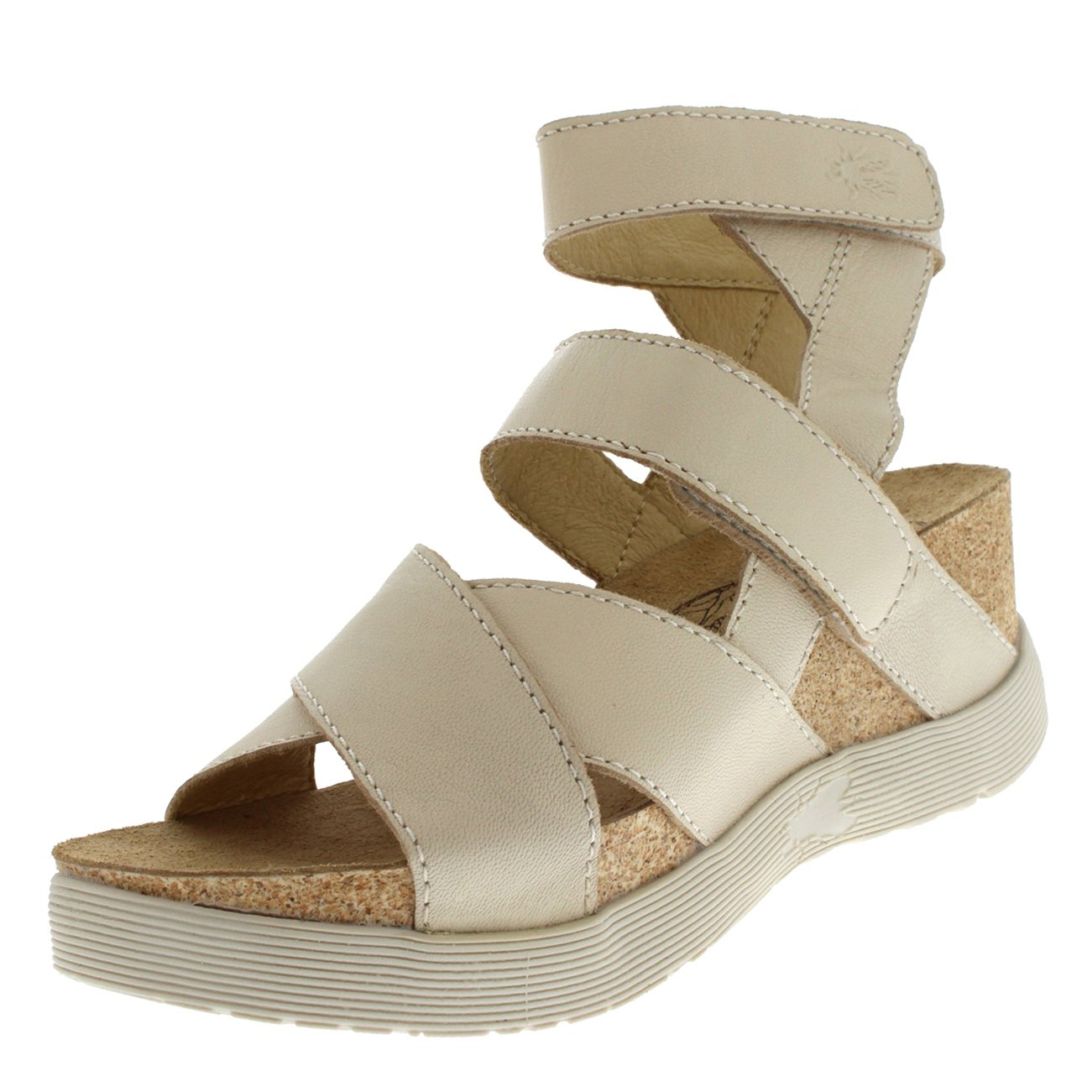 FLY London Womens Wedge Leather Velcro Open Toe Summer Cut Out Sandals - Mousse Off White - 10