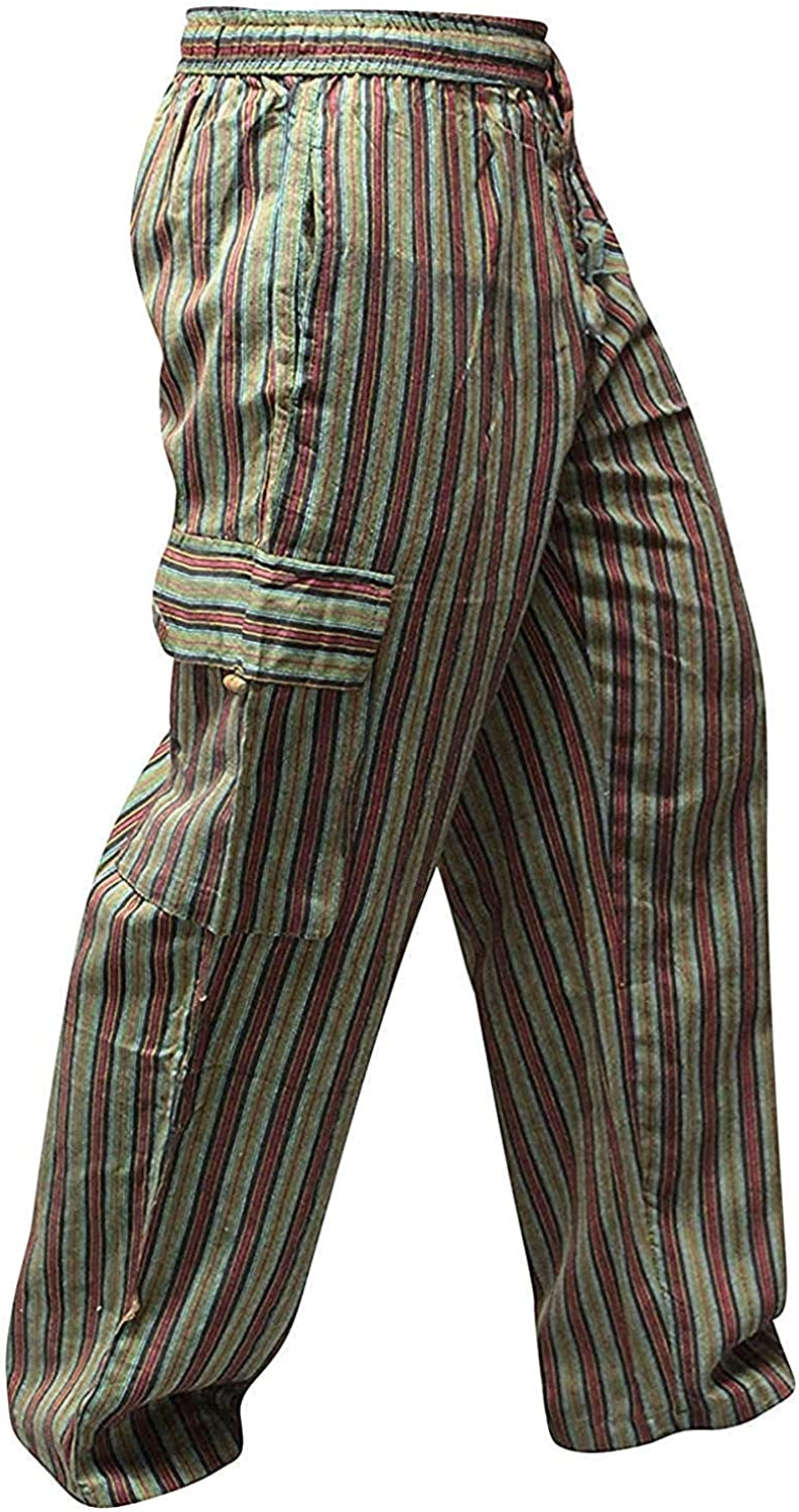 60s , 70s Hippie Clothes for Men Shopoholic Fashion Mens Light Weight Stripe Hippy Combat Trouser $24.99 AT vintagedancer.com