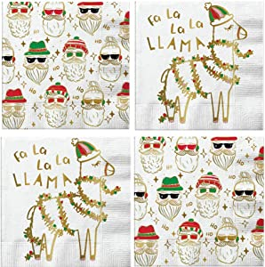 Llama Christmas Cocktail Napkins Hipster Santa Assorted Variety Pack Beverage paper napkins assorted 40 count Set