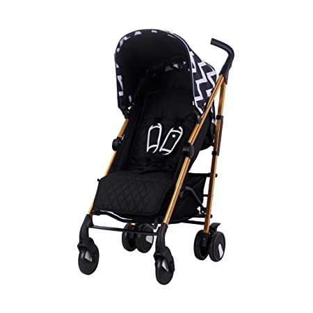 My Babiie Black Gold Chevron Baby Stroller Lightweight Baby Stroller with Carry Handle Gold Frame and Black Chevron Canopy Lightweight Travel Stroller Suitable from Birth to 33lbs