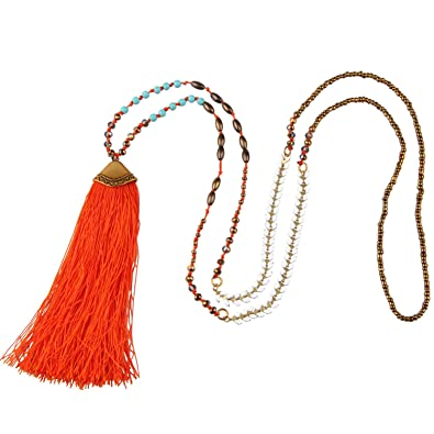 Cyan KELITCH Bohemian Handmade Chain Crystal Agate Beads Long Necklace with Tassel Pendant