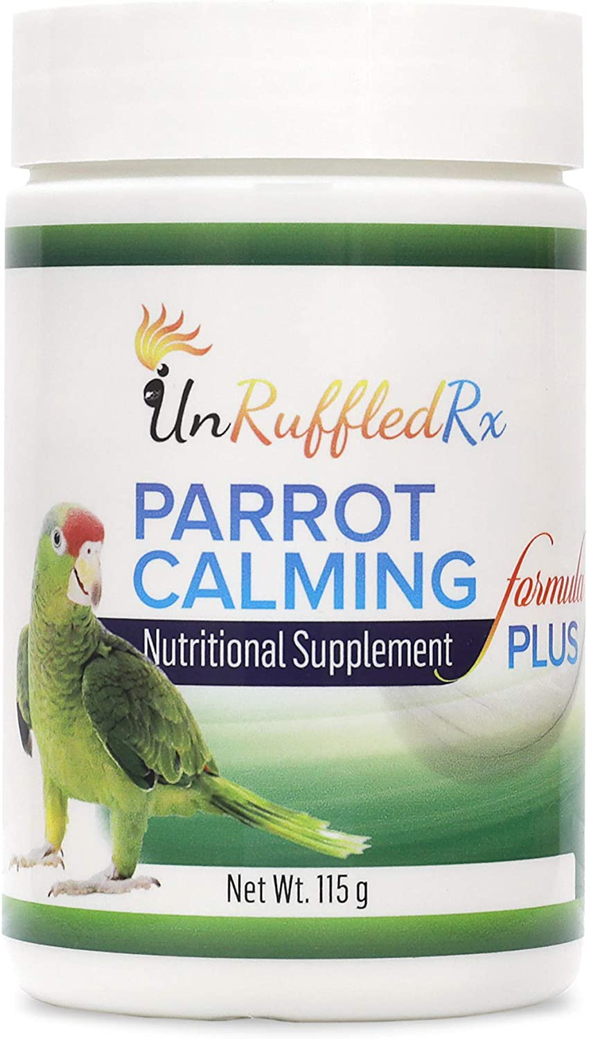 UnRuffledRx Parrot Calming Supplement - Bird Supplements for Stress Relief - L-Theanine and GABA Calm Avian Formula for Conure, Cockatoo, and Parrotlet to Reduce Feather Plucking - 194 Doses