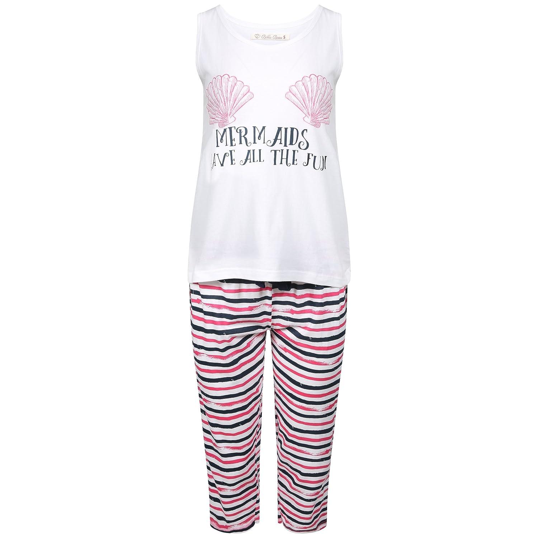 40e1a590ec Bella Beau Ladies 100% Cotton Vest Top and Cropped Leg Pyjamas. Mermaid or  Cat Nap Design. Sizes S