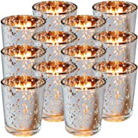 Royal Imports Silver Mercury Glass Votive Candle Holder, Table Centerpiece Tealight Decoration for Elegant Dinner, Party…