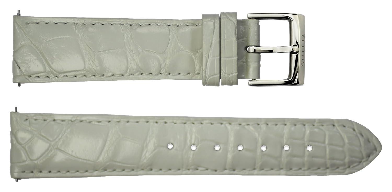 Armbanduhr lederarmband in Weiß Alligator - 20 - - Schnalle in Edelstahl - B20049