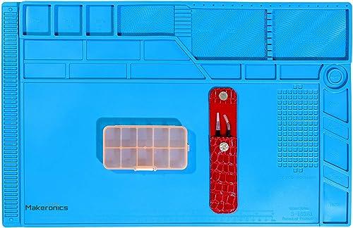 Makeronics S-180 Soldering Mat Insulation Silicone Magnetic Repair Work Mat Heat-Resistant Soldering Station Mat for BGA and Gun Soldering Iron, Workbench, Cell Phone Laptop Repair