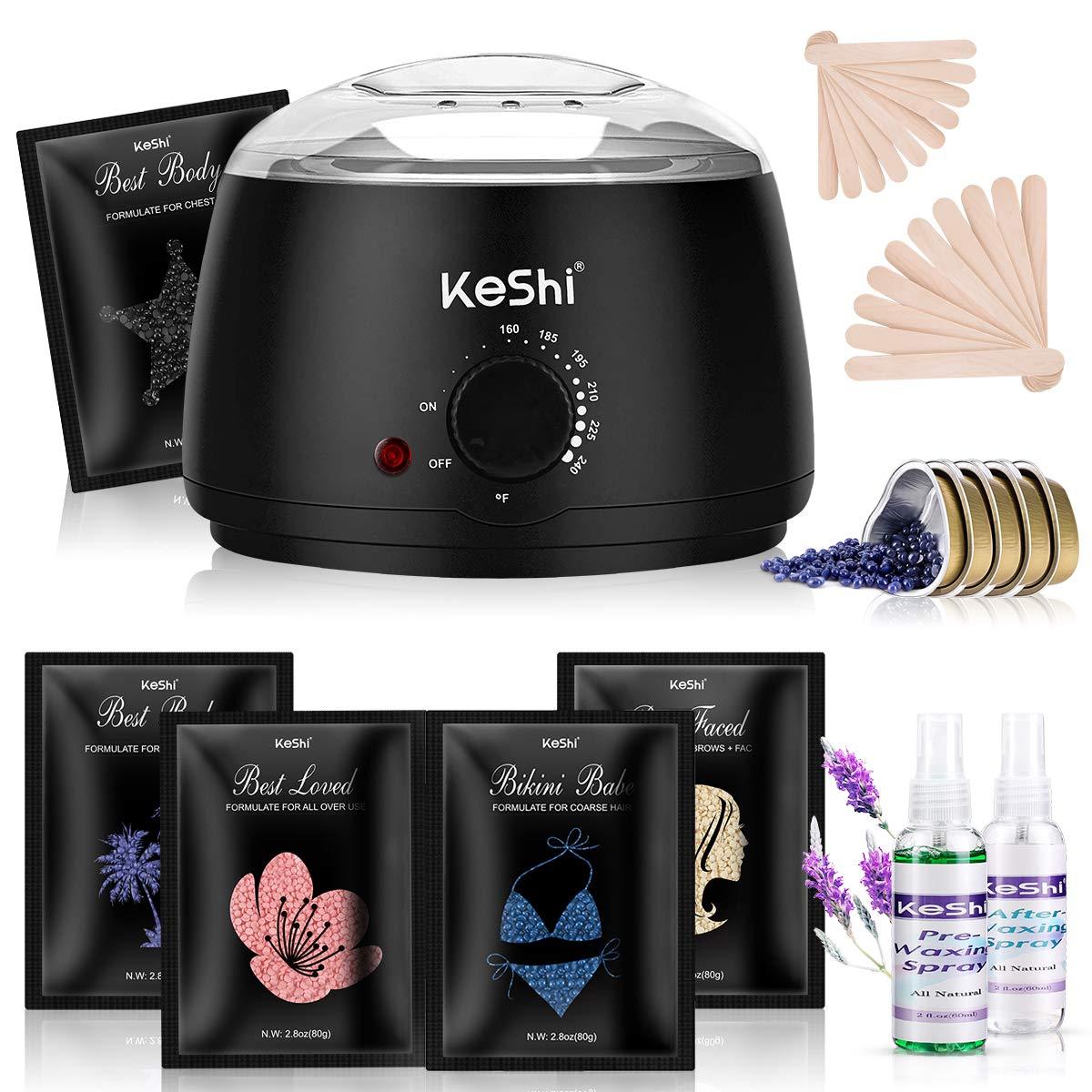 Waxing Kit, KeShi Painless Hair Removal Wax Warmer, Home Wax Kit with 5 Stripless Bags Hard Wax Beans for Full Body, Legs, Face, Eyebrows, Bikini Wax Women Men Brazilian Waxing