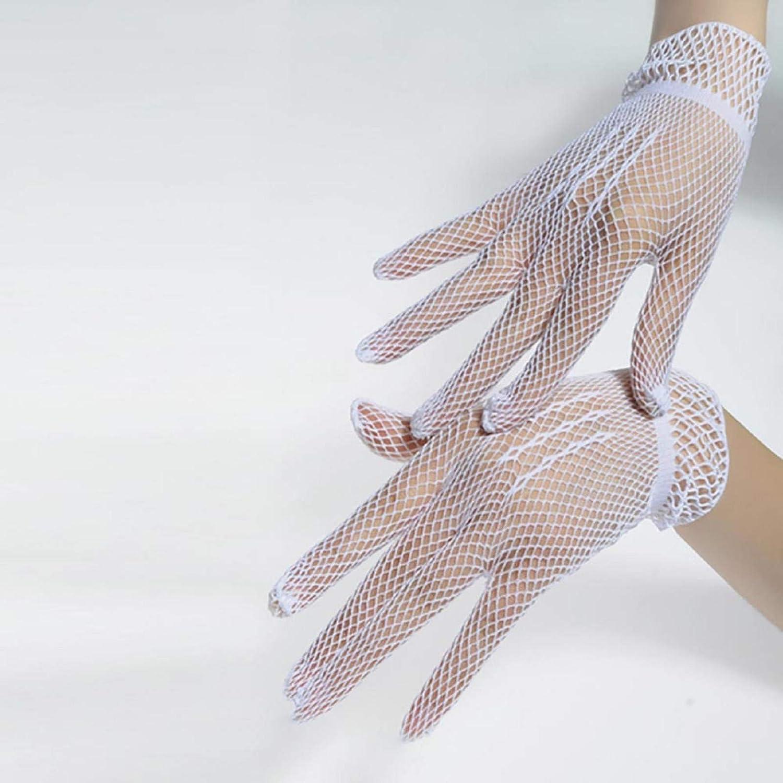 Womens Vintage Sheer Length Gloves,Summer UV-Proof Driving Gloves Mesh Fishnet Full Finger Lace Gloves