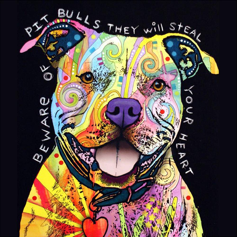 (24x24cm)Full Square Drill 5D DIY Diamond Painting Cross StitchPit Bulls3D Diamond Embroidery Resin Dog Mosaic Rhinestone Paintings Gift