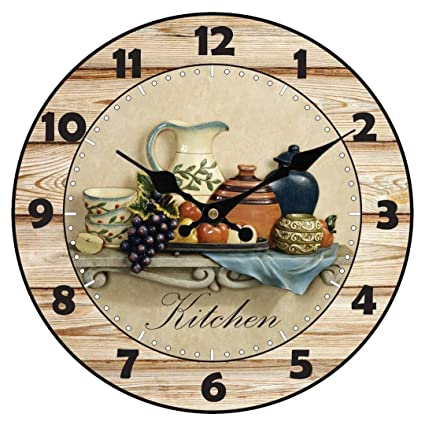 Upuptop Modern Home Decor Quiet Sweep Movement Kitchen Round Wood Wall Clock Fruit Ceramics 16inch