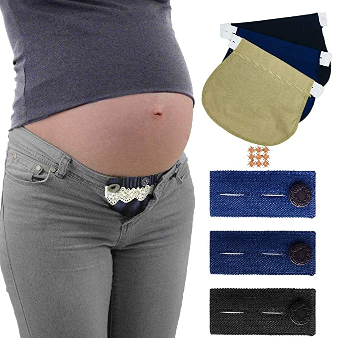 da91d50d6cedd Image Unavailable. Image not available for. Color: Belly Belt Combo  Maternity Belly Band Adjustable Elastic Pants Expectant Mothers Pregnant ...