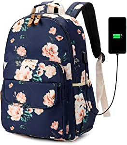 CAMTOP School Backpack Teen Girls Sunflower Bookbag Floral Women Girls College Backpack with USB Charging Port (6058/Navy Blue)
