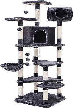 FEANDREA Árbol para Gatos, Gran Rascador con Caseta, Plataformas Grandes, Cesta, Postes Recubiertos por Cuerda de Sisal, Antracita PCT17G: Amazon.es: Productos para mascotas
