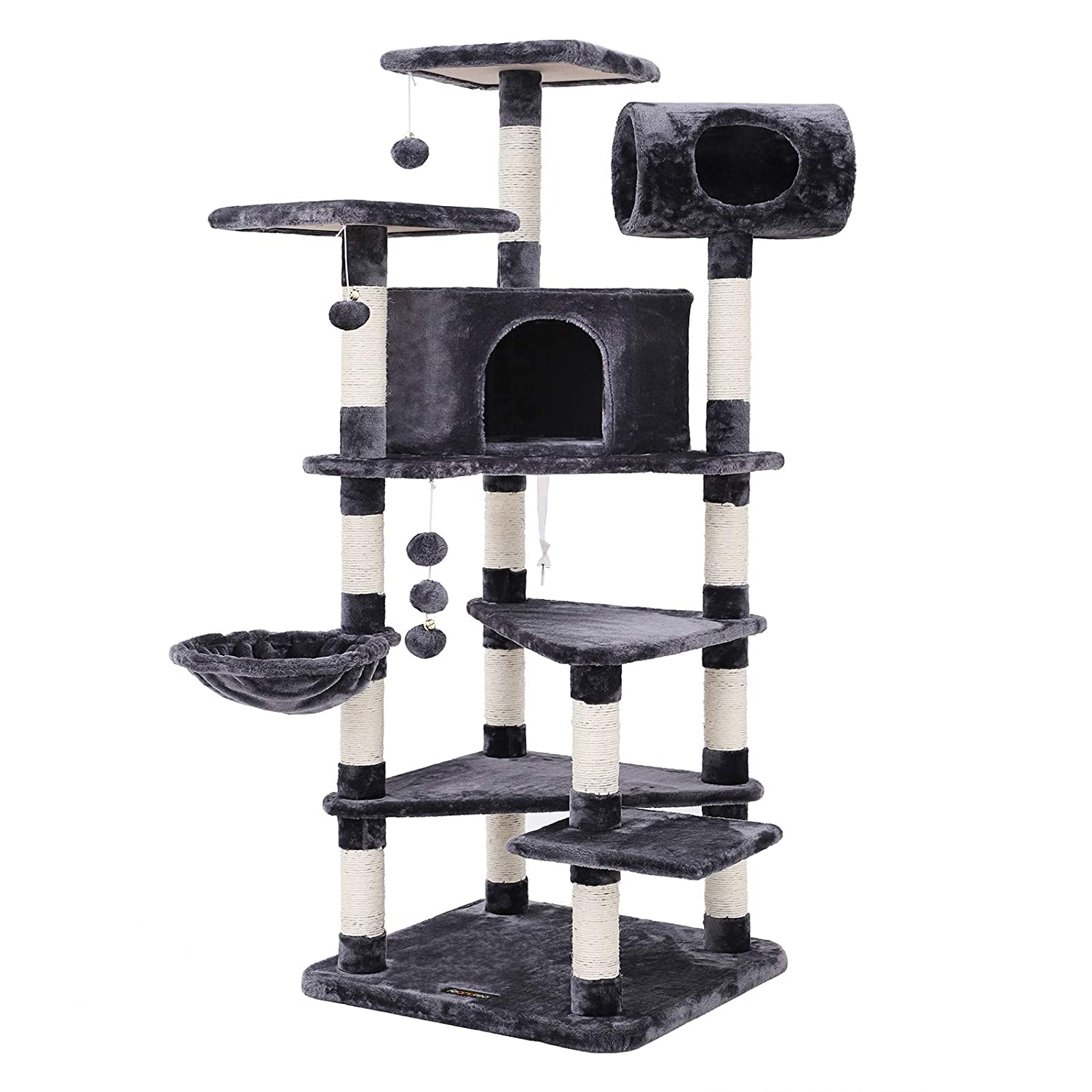 d23040403a06 FEANDREA Multi-level Large Cat Tree Cat Furniture Cat Play House Smoky Grey  PCT17G: Amazon.co.uk: Pet Supplies