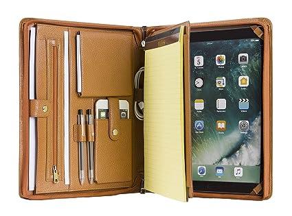 new style 93210 0e263 Genuine Leather iPad Portfolio Case Professional Office Organizer Folder  Business Travel Padfolio with Zippered Closure, Gift for Women & Men F16 ...