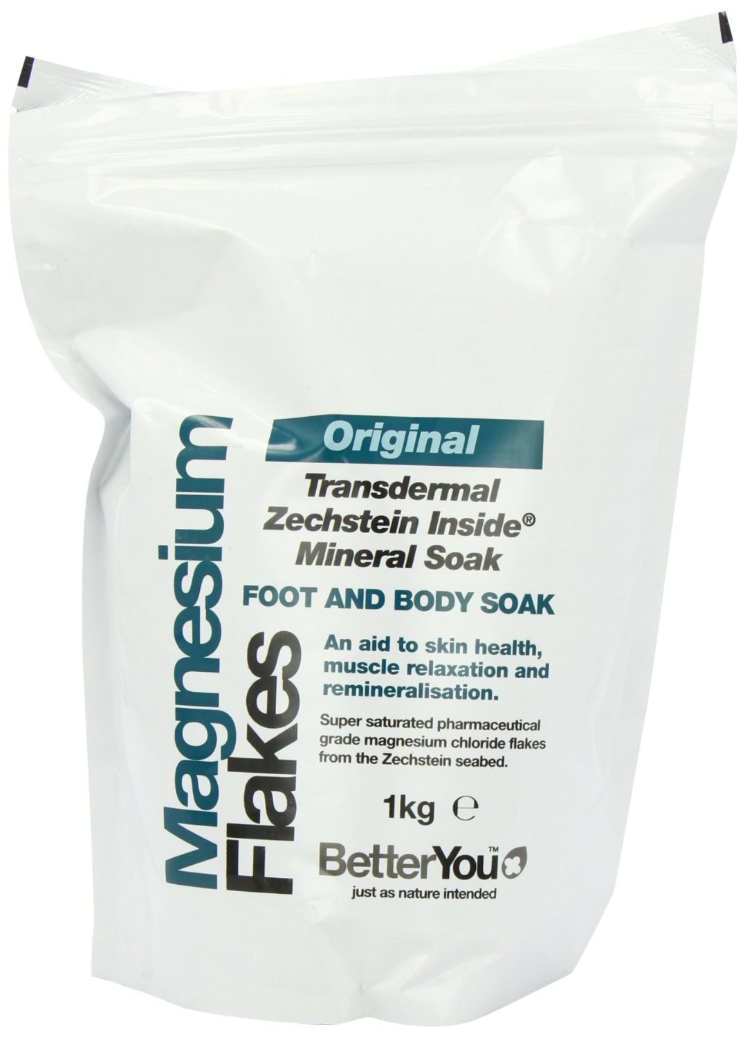 'Better You Magnesium Original Flakes 1KG Add to a foot or body bath for whole body health and relaxation. BetterYou