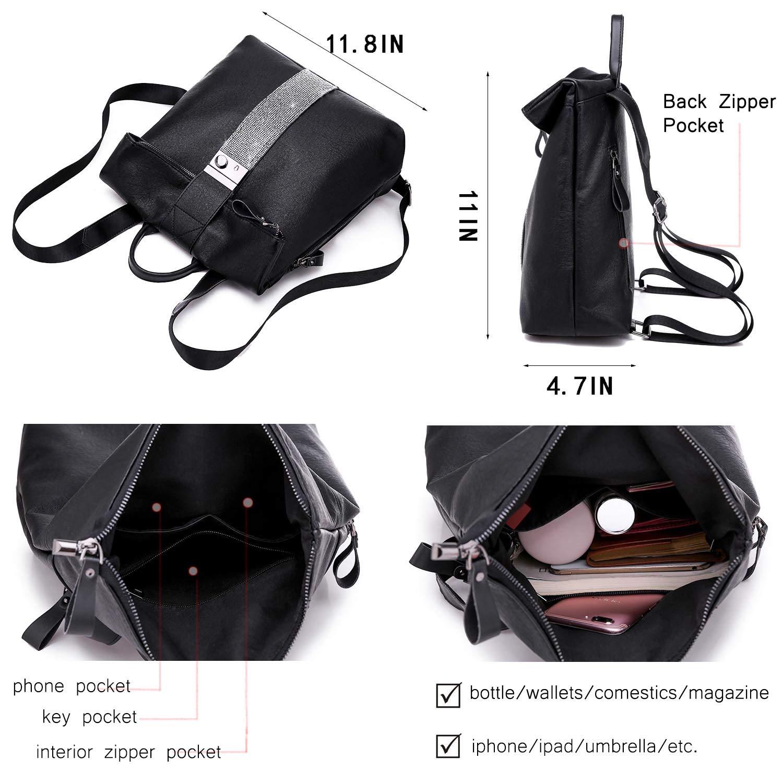 TcIFE damryggsäck stöldsäker väska vattentät skolväska lätt reseryggsäck 9-1 Black Medium