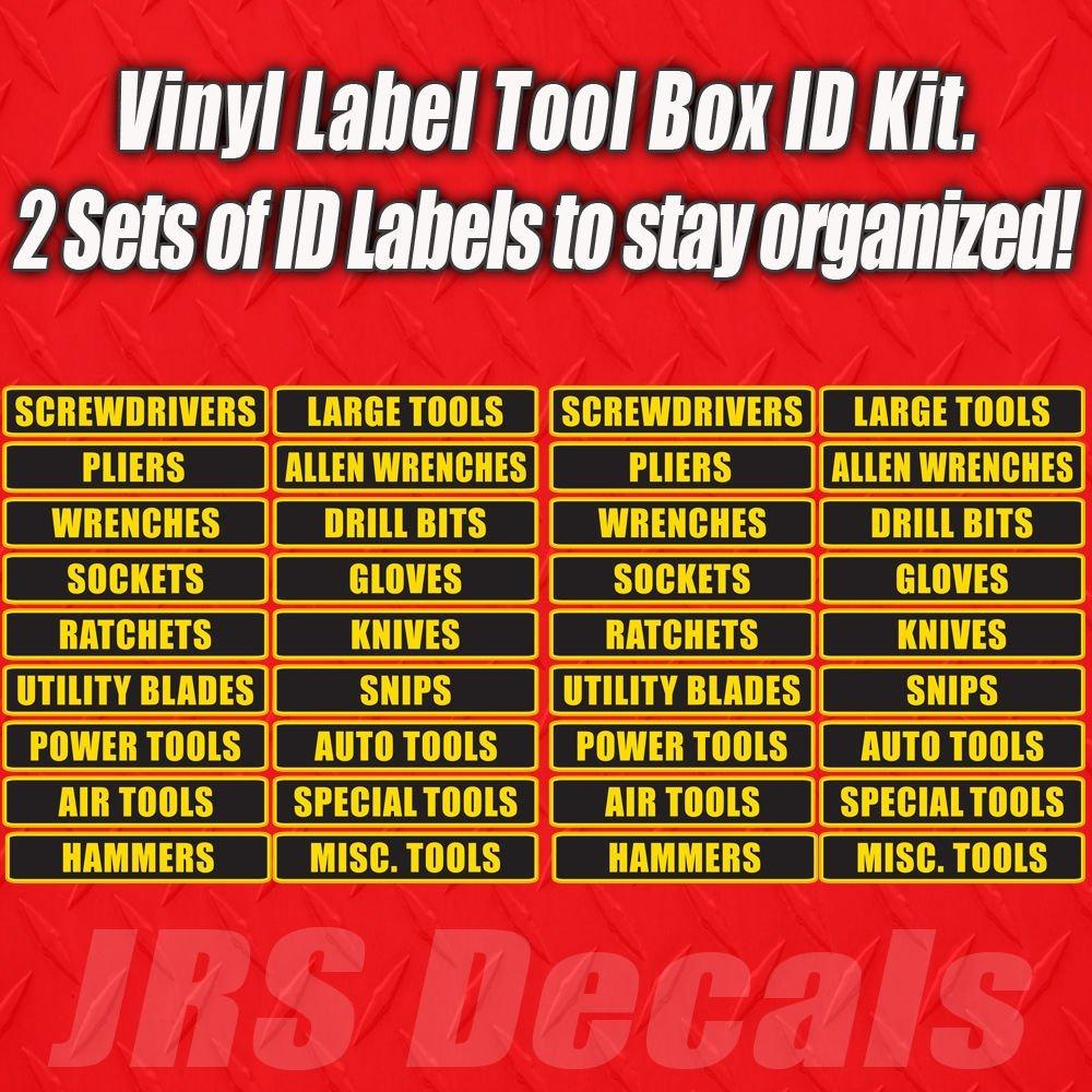 Tool Box Label Decal Sticker Set. Organization Label Set for Toolbox ...