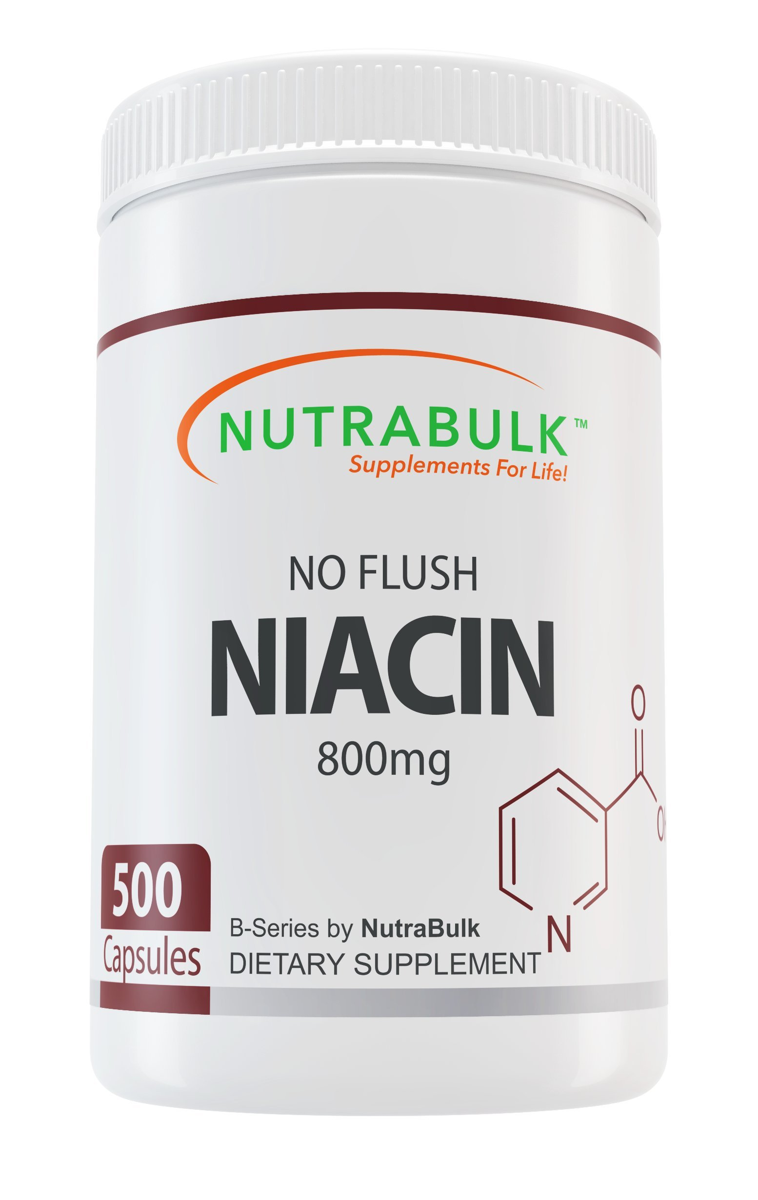 NutraBulk No Flush Niacin 800mg Capsules 500 count