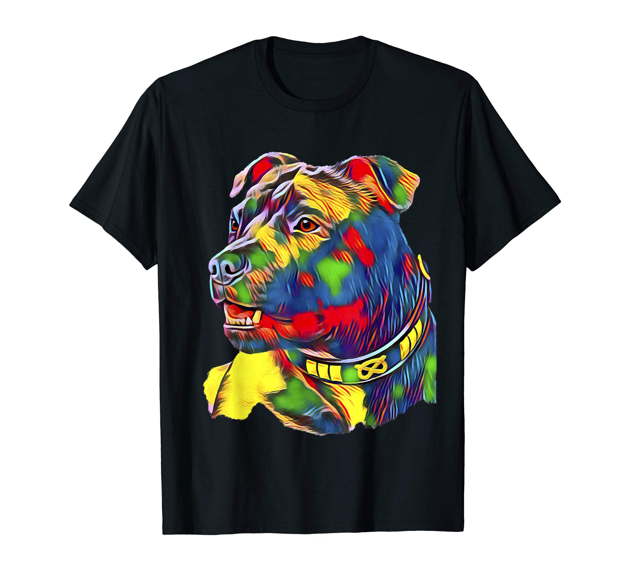 Watercolor Art Colorful American Staffordshire Bull Terrier T-Shirt 1