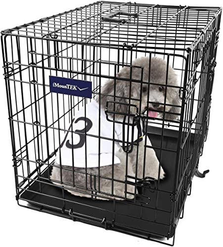 iMounTEK Folding Metal Pet Dog Puppy Cat Cage Crate Kennel W Tray. 2 Doors Wire Cage for Training, Removable Washable Pan Tray Rust Resistant Quick Assembly