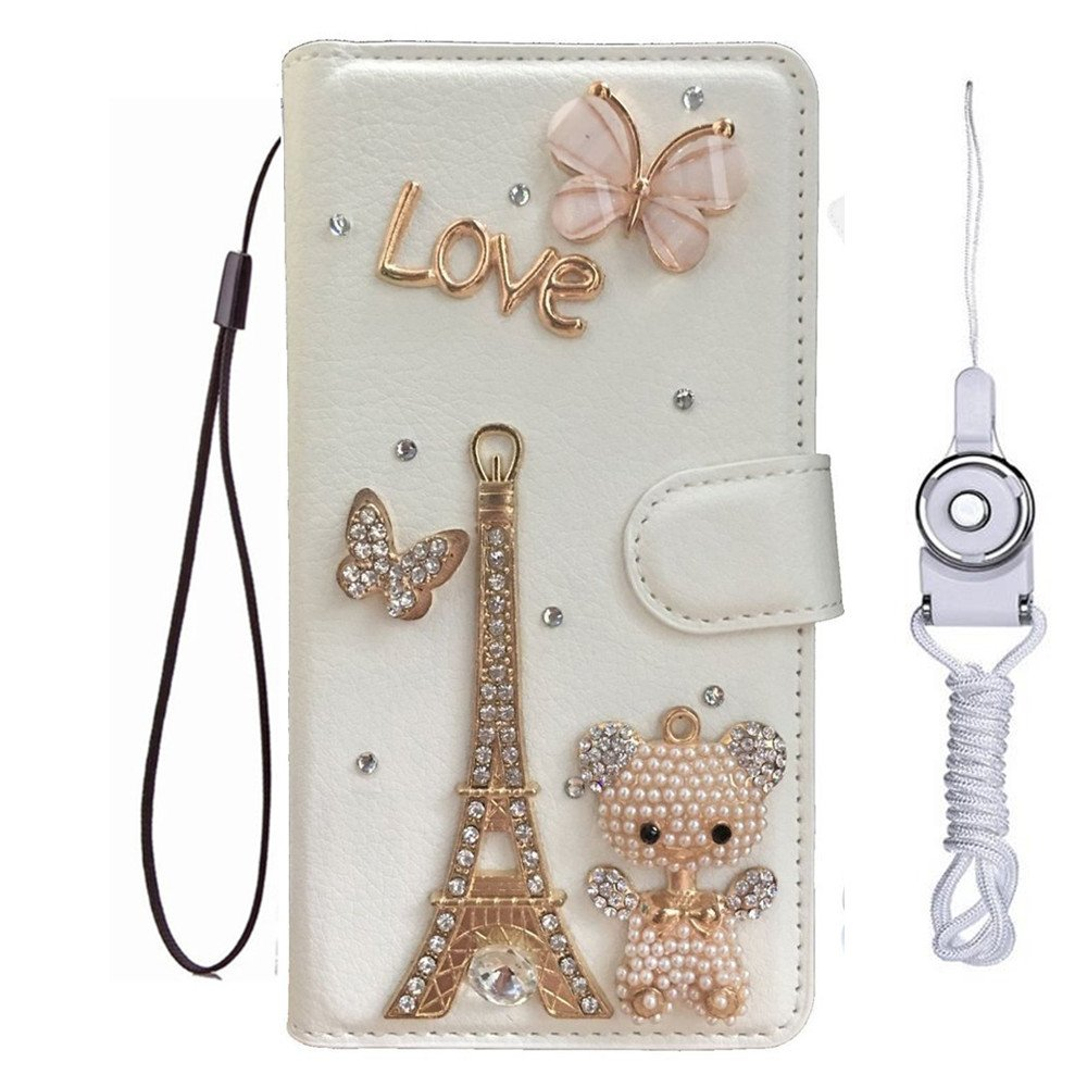 LG Fiesta LTE L63BL L64VL Case,LG X Power 2 Case,LG X Charge case with 2 straps,Handmade Bling PU Leather Filo slots Wallet Flip Protective Case Cover for LG K10 Power LV7 (Bear Eiffel Tower)