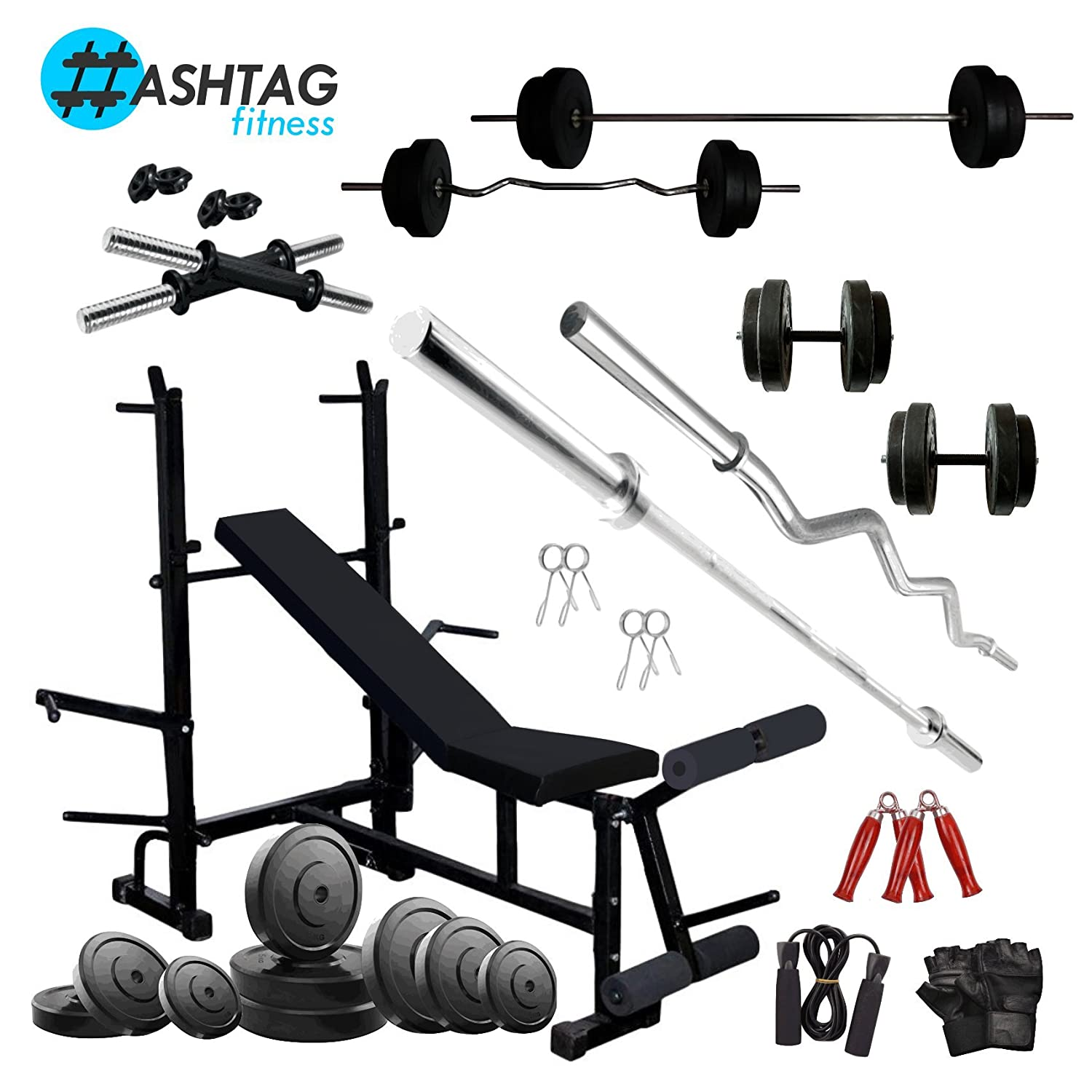 Remarkable Hashtag Fitness Home Gym Equipment Combo 50 Kg With 8 In 1 Multipurpose Bench Uwap Interior Chair Design Uwaporg