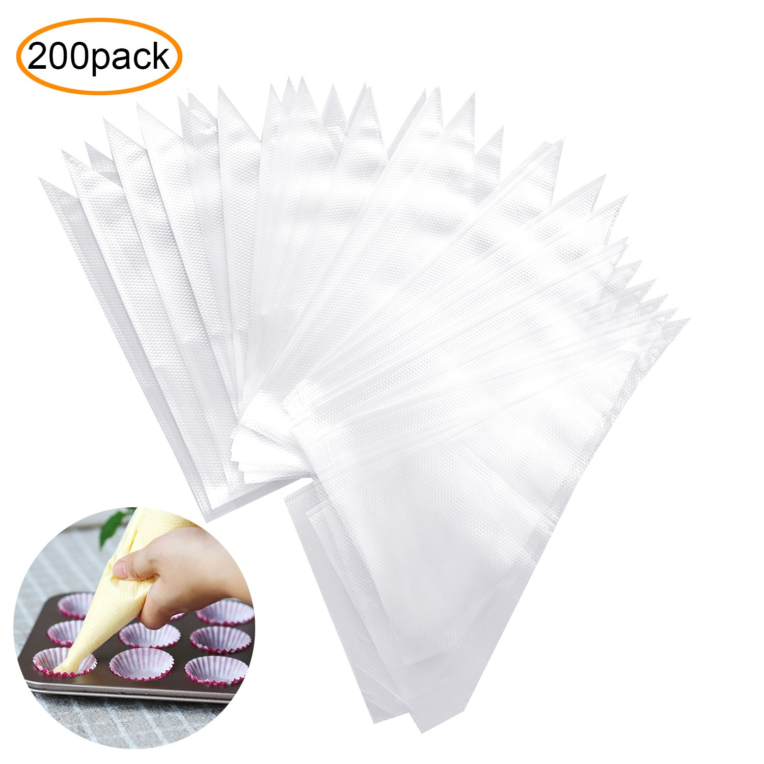200 Pcs Thickened Disposable Pastry Bag Pastry Decorating Bags Icing Piping Bag YHmall