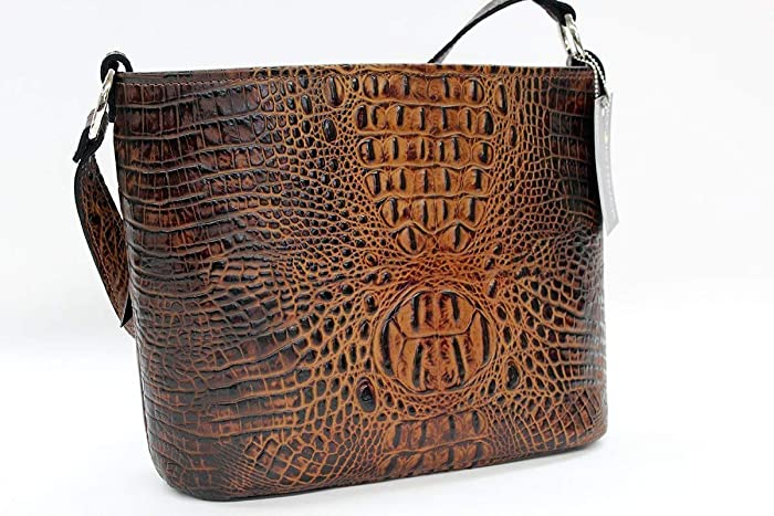 b7718fed3 Amazon.com: MoonStruck Leather Concealed Carry Purse - CCW Handbags  Butternut Embossed Crocodile - Made in the USA - Classic: Handmade