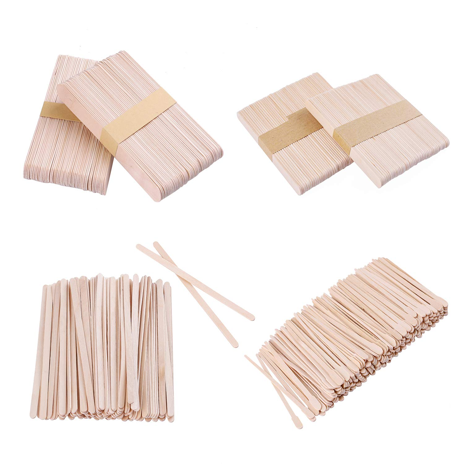 Whaline 500 Pieces Assorted Wax Spatulas Wax Applicator Sticks Wood Craft Sticks, Large, Medium, Small, 4 Style