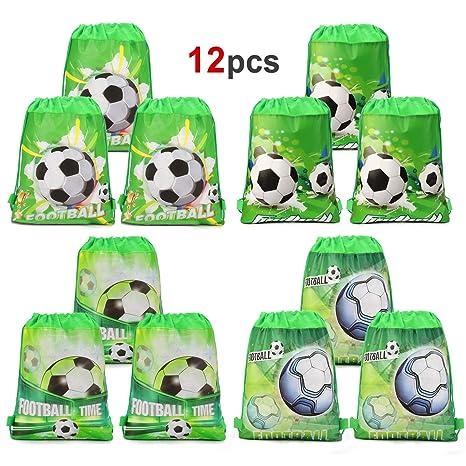 Howaf 12 Piezas Bolsas con cordón de fútbol Bolsa Regalo Cumpleaños Escolar Bolsas Tela no Tejida para niños regalo fiestas infantiles fútbol ...