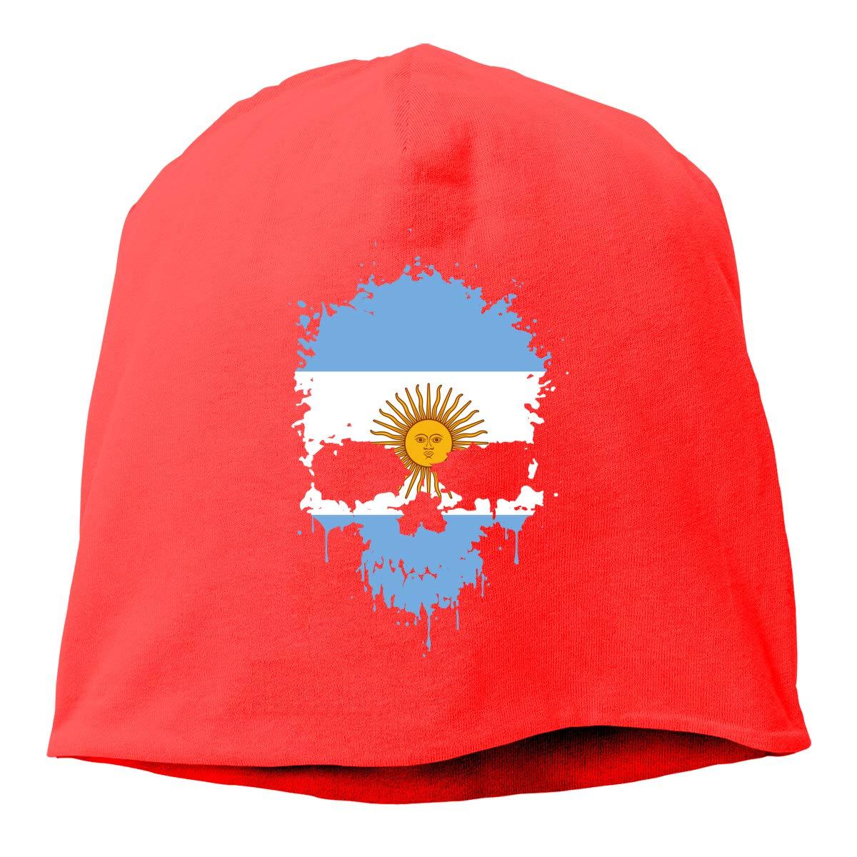 TLPM9LKMBM Argentina Flag Splatter Skull Beanie Skull Cap for Women and Men Winter Warm Daily Hat