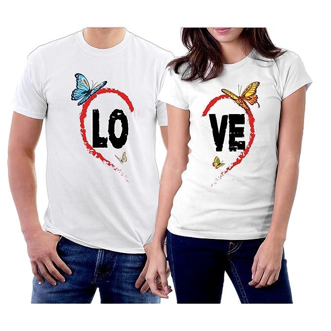 d8f3e2d2b2 Matching LO VE Heart Butterflies Couple T-Shirts Men XXL/Women XS White