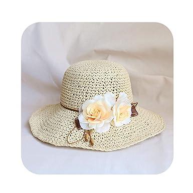 94806a27f Amazon.com: Girls Wide Large Brim Floppy Sun Hat Beach Woman Straw ...