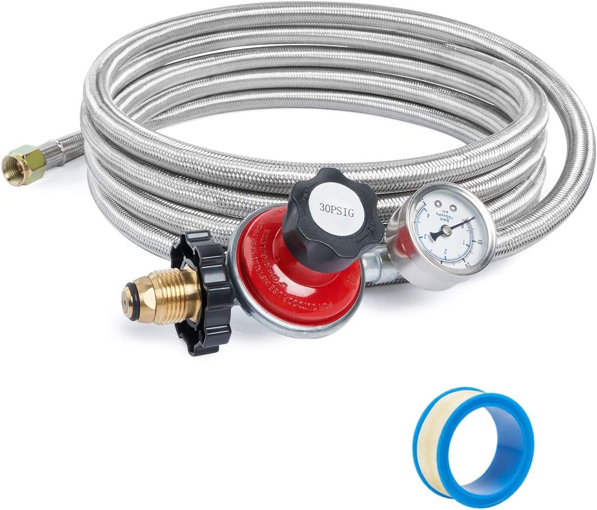 SHINESTAR 12FT 30PSI Adjustable Propane Regulator Hose with Gauge for Fire Pit,Grill,Forge,Gas Cooker, Stainless Steel Braided, POL x 3/8 Female Flare Connection