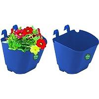 TrustBasket Vertical Gardening Plastic Hanging POTS/PLANTERS (Blue) - Small