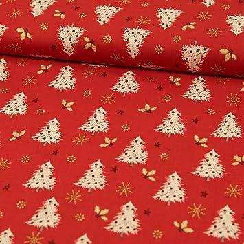Weihnachtsstoff rote Punkte auf dunkelrot Baumwoll Stoff 0,5m