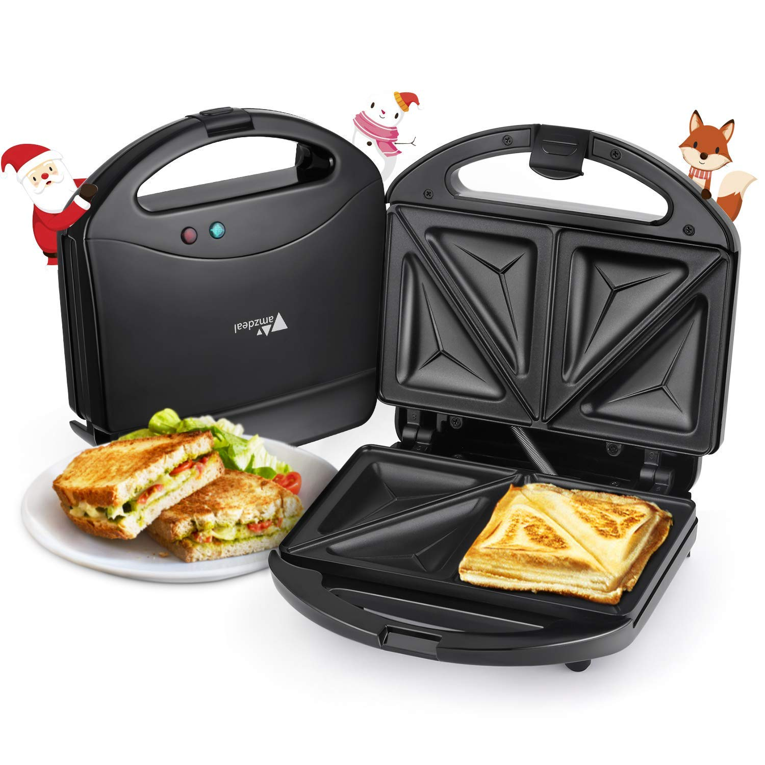 860a9345b44 Amzdeal Sandwich Toaster 4 Slice Sandwich Maker Deep Fill Toastie Maker  with Non Stick Hot Plates for Tasty Snack  Amazon.co.uk  Kitchen   Home