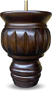 """6"""" Turned Round Buns Walnut Tapered Furniture Wood Legs 5/16"""" Bolt - Set of 4"""