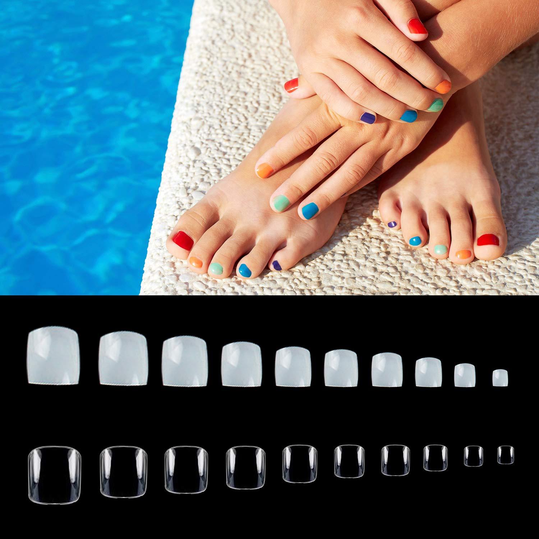 1000PCS Fake Toenail Tips Set Full Cover False Toe Nail Tips for DIY Nail Art Design & Manicure Salons, Natural + Clear Color, 10 Sizes by Noverlife