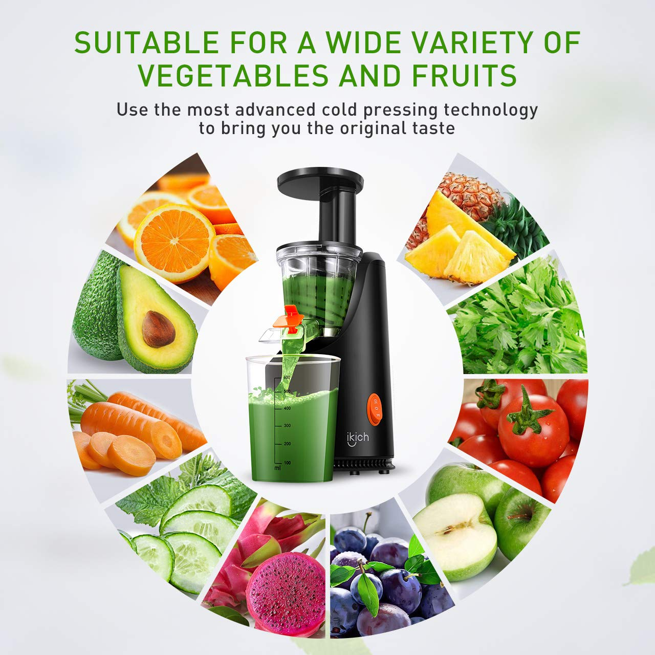 Masticating Juicer IKICH Slow Juicer with 200W Quiet Efficient Motor Compact Design Juicer Machines Easy to Clean with Juice Recipes , Brush , Cold Press Juicer with BPA-Free, FDA Approved by IKICH (Image #4)