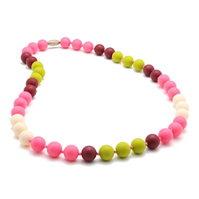 Chewbeads Bleecker Teething Necklace, 100% Safe Silicone - Punchy Pink : Baby Teether Toys : Baby