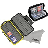 Kupton Memory Card Case Kit Water-resistance Protection Carrying Case Box 24-Slot + Pouch Zippered Storage for SD SDHC SDXC Micro SD CF Card